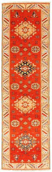 Bordered  Traditional Orange Runner rug 10-ft-runner Indian Hand-knotted 314292