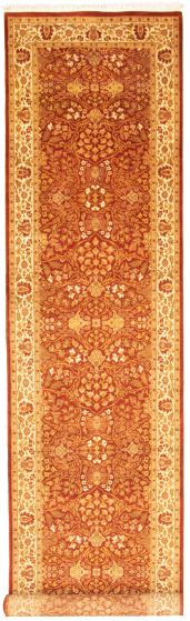 Bordered  Traditional Brown Runner rug 15-ft-runner Pakistani Hand-knotted 330328
