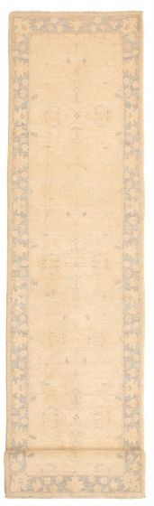 Bordered  Traditional Ivory Runner rug 12-ft-runner Pakistani Hand-knotted 331603