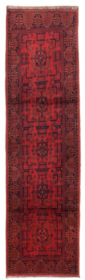 Bordered  Traditional Red Runner rug 10-ft-runner Afghan Hand-knotted 342346