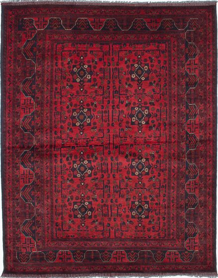 Traditional Red Area rug 5x8 Afghan Hand-knotted 222386