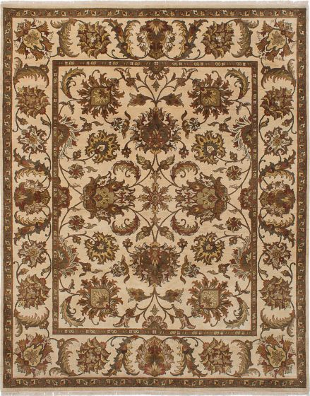 Traditional Ivory Area rug 6x9 Indian Hand-knotted 228037