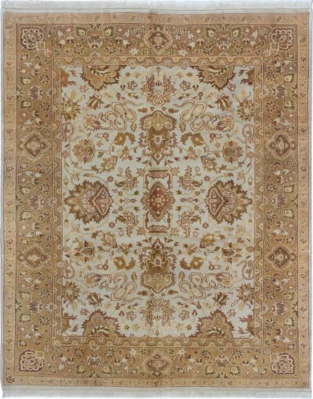 Bordered  Traditional Ivory Area rug 6x9 Indian Hand-knotted 280427