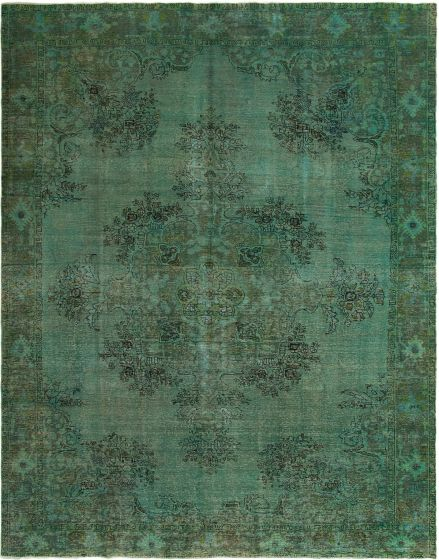 Bordered  Transitional Green Area rug 9x12 Turkish Hand-knotted 295647
