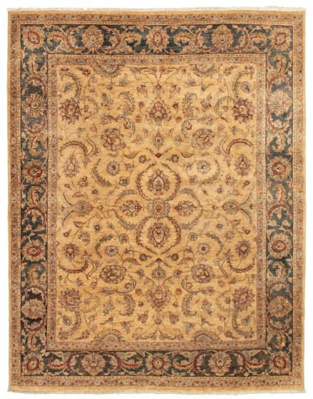 Bordered  Traditional Yellow Area rug 6x9 Pakistani Hand-knotted 328529