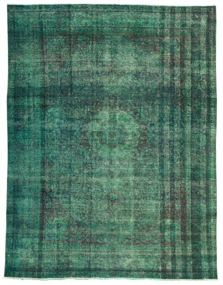 Bordered  Transitional Green Area rug 9x12 Turkish Hand-knotted 331326