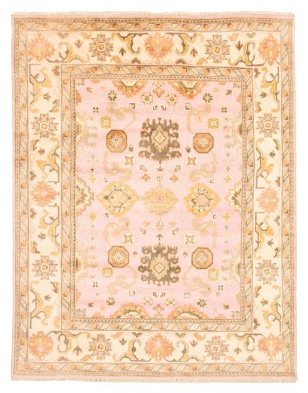 Bordered  Traditional Pink Area rug 6x9 Indian Hand-knotted 344872