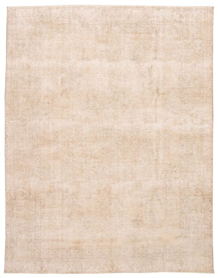 Bordered  Vintage Yellow Area rug 9x12 Turkish Hand-knotted 360557
