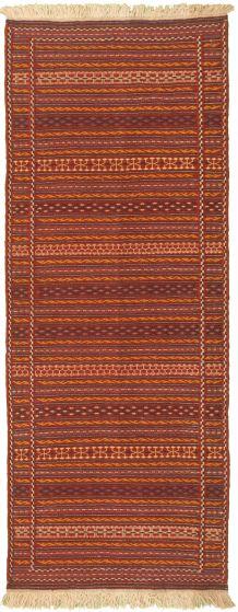 Bordered  Stripes Red Runner rug 7-ft-runner Turkish Flat-weave 334962