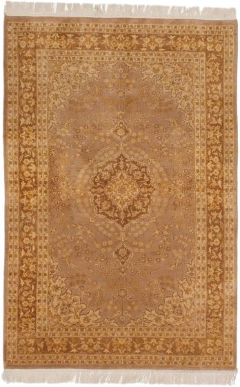Traditional Brown Area rug 3x5 Pakistani Hand-knotted 191495