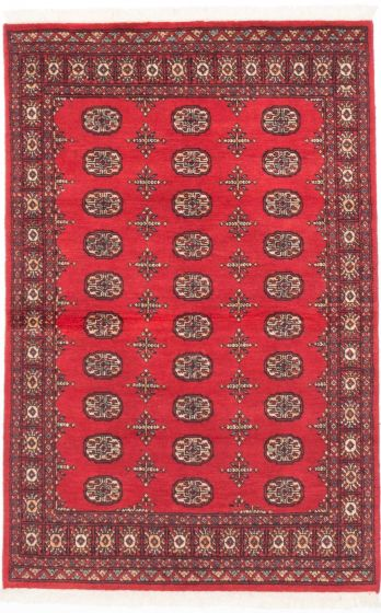 Traditional Red Area rug 3x5 Pakistani Hand-knotted 205109