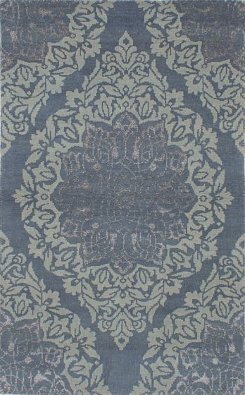 Bohemian  Transitional Blue Area rug 5x8 Indian Hand-knotted 221975