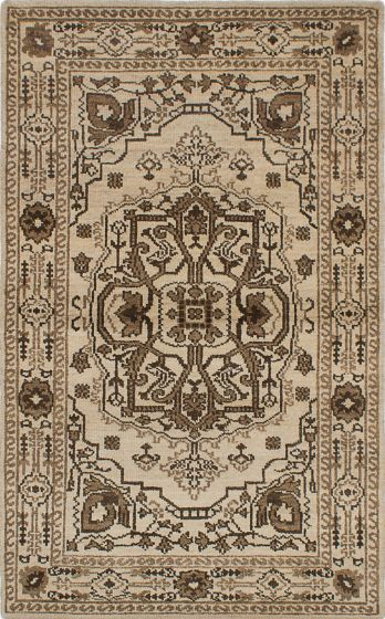 Traditional Ivory Area rug 5x8 Indian Hand-knotted 222077