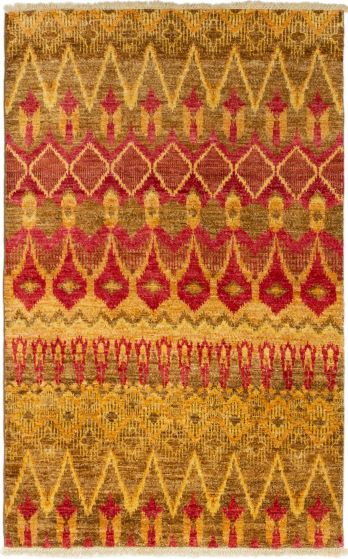 Casual  Transitional Red Area rug 4x6 Indian Hand-knotted 280001