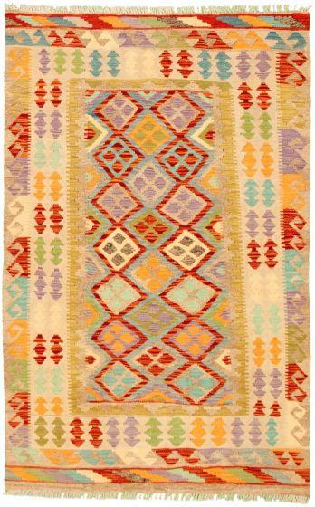 Bordered  Geometric Ivory Area rug 3x5 Turkish Flat-weave 330208