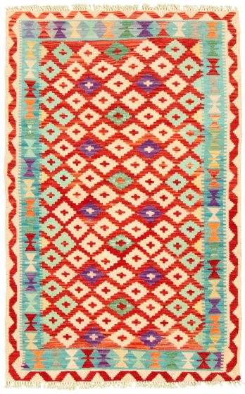 Bordered  Geometric Multi Area rug 3x5 Turkish Flat-weave 330229
