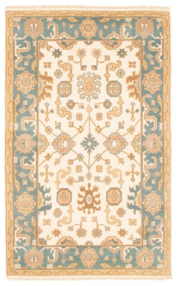 Bordered  Traditional Ivory Area rug 3x5 Indian Hand-knotted 349456