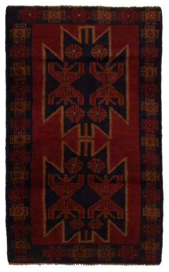 Bordered  Tribal Red Area rug 3x5 Afghan Hand-knotted 357181