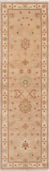 Traditional Ivory Runner rug 8-ft-runner Indian Hand-knotted 223828