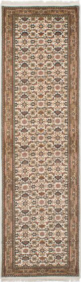 Traditional Ivory Runner rug 10-ft-runner Indian Hand-knotted 236089