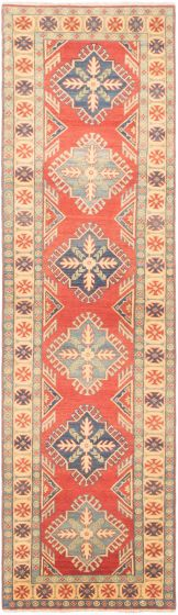 Bordered  Traditional Brown Runner rug 10-ft-runner Afghan Hand-knotted 305480