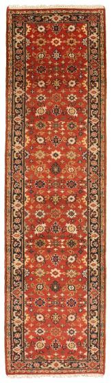 Bordered  Traditional Red Runner rug 10-ft-runner Indian Hand-knotted 314375