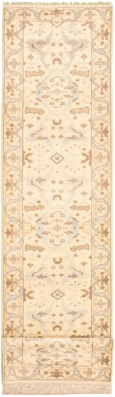 Bordered  Traditional Ivory Runner rug 20-ft-runner Indian Hand-knotted 338468
