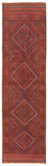 Bordered  Tribal Red Runner rug 8-ft-runner Afghan Hand-knotted 342471
