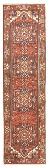 Bordered  Traditional Red Runner rug 10-ft-runner Indian Hand-knotted 344530