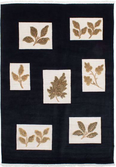 Contemporary Black Area rug 5x8 Nepal Hand-knotted 230560