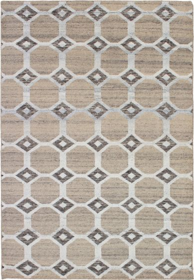Casual  Contemporary Ivory Area rug 5x8 Indian Hand-knotted 271815