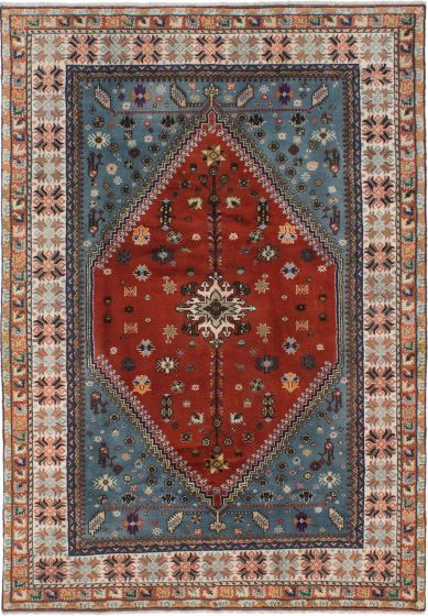 Bordered  Traditional Red Area rug 6x9 Moroccan Hand-knotted 273420