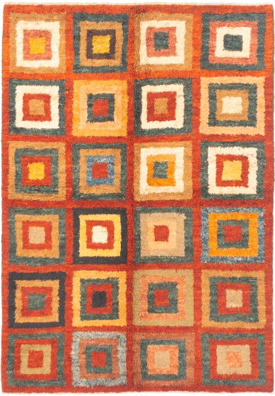 Transitional Red Area rug 6x9 Indian Hand-knotted 280523