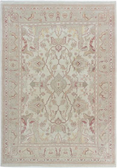 Bordered  Traditional Ivory Area rug 6x9 Turkish Hand-knotted 280837