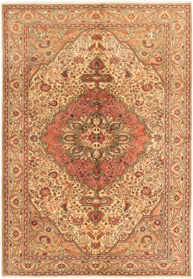 Bordered  Traditional Ivory Area rug 6x9 Turkish Hand-knotted 281009