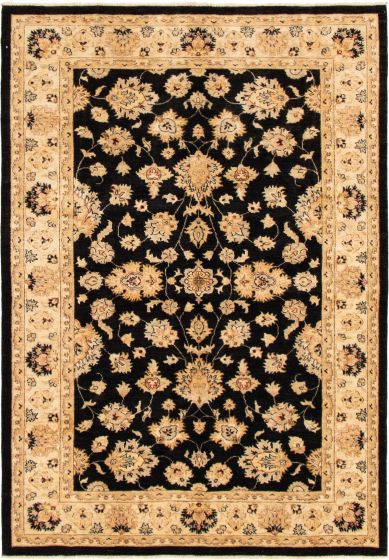 Bordered  Traditional Black Area rug 5x8 Indian Hand-knotted 293019