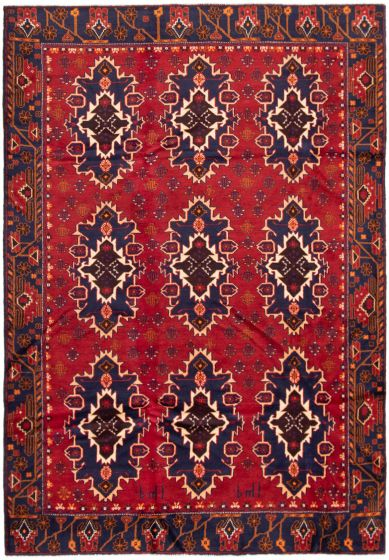Bordered  Tribal Red Area rug 6x9 Afghan Hand-knotted 298074