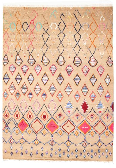 Moroccan  Tribal Brown Area rug 9x12 Pakistani Hand-knotted 311235