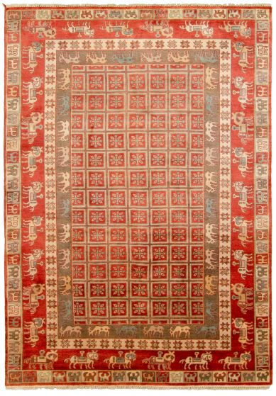 Tribal Red Area rug 5x8 Indian Hand-knotted 314896
