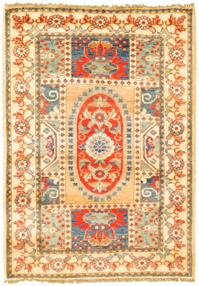 Bordered  Traditional Ivory Area rug 3x5 Afghan Hand-knotted 330161