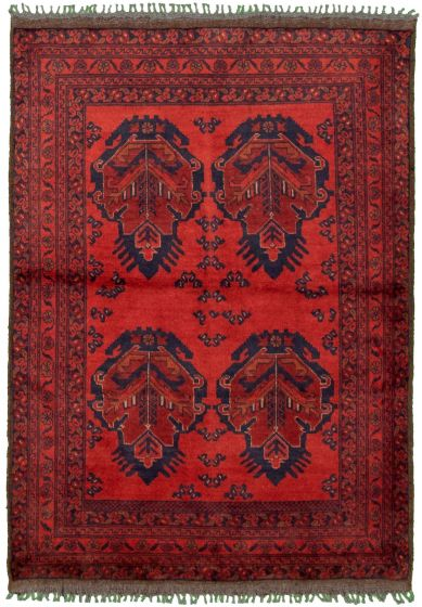 Bordered  Tribal Red Area rug 3x5 Afghan Hand-knotted 330287