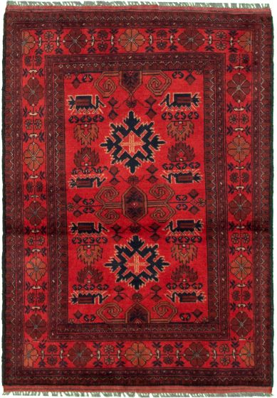Bordered  Tribal Red Area rug 3x5 Afghan Hand-knotted 330290