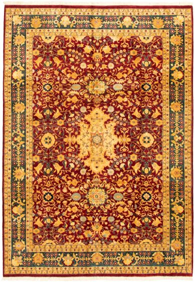 Bordered  Traditional Red Area rug 5x8 Pakistani Hand-knotted 330506