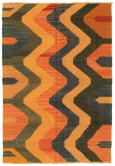 Casual  Transitional Brown Area rug 3x5 Turkish Flat-weave 335463