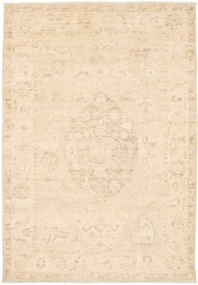 Bordered  Transitional Yellow Area rug 5x8 Pakistani Hand-knotted 339000