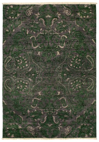 Traditional  Transitional Grey Area rug 3x5 Pakistani Hand-knotted 342154