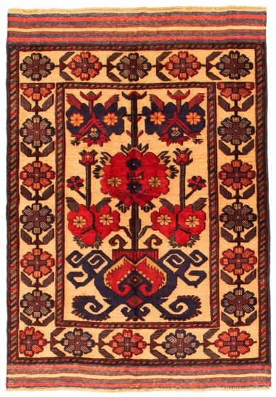 Bordered  Tribal Ivory Area rug 3x5 Afghan Hand-knotted 342631