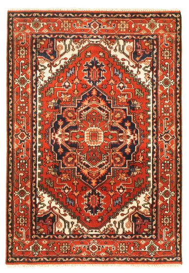 Bordered  Traditional Red Area rug 3x5 Indian Hand-knotted 344903