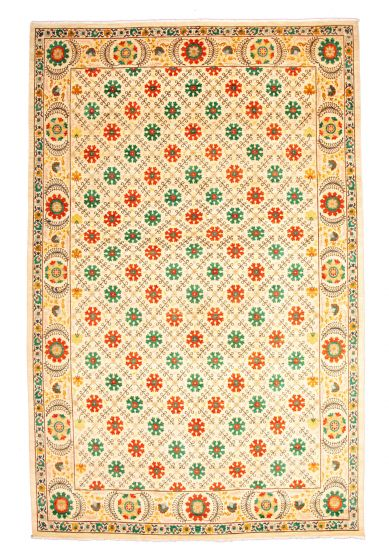 Casual  Transitional Ivory Area rug Unique Pakistani Hand-knotted 345150