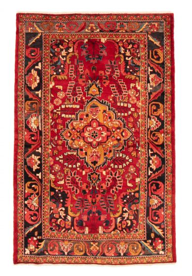 Bordered  Traditional Red Area rug 5x8 Persian Hand-knotted 358666